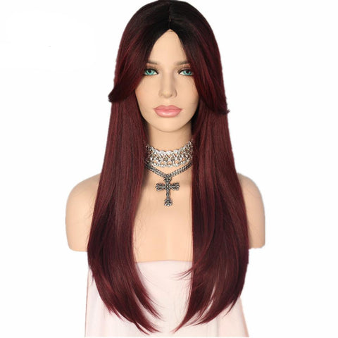 Burgundy Color Daily Synthetic Wig