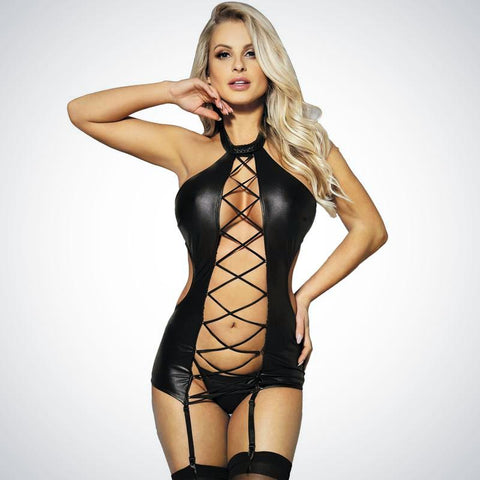 Sexy Leather Bandage Halter