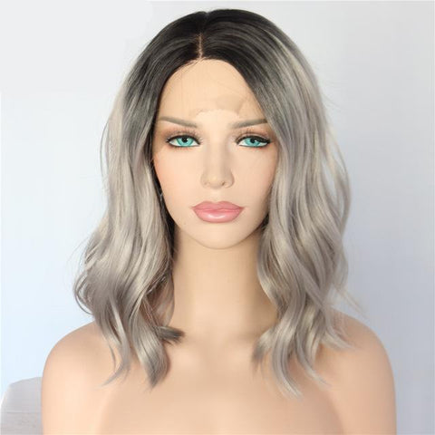 Short Black/Grey Ombre Synthetic Wavy Wigs