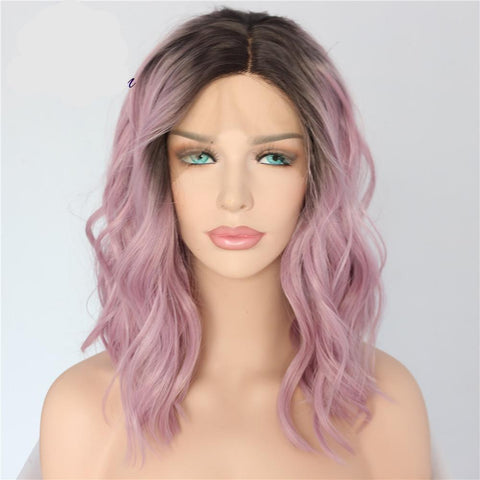 Short Black/Pink Ombre Synthetic Wig