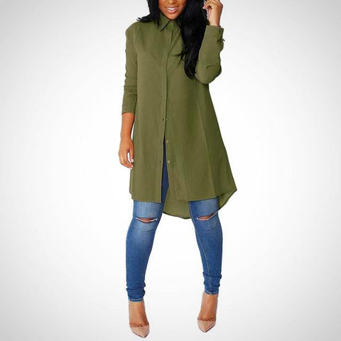 Casual Long Sleeve Long Top - -ENC FASHION-