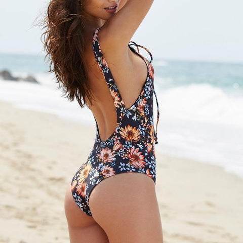 Floral One-Piece Backless Swimsuit - -ENC FASHION-