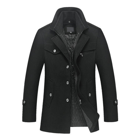 New Formal Wool Quilted Lining Pea Coat