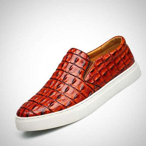 Luxury Split Leather Casual Crocodile Shoes