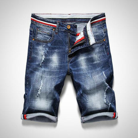 Cotton Ripped Denim Shorts For Men - -ENC FASHION-