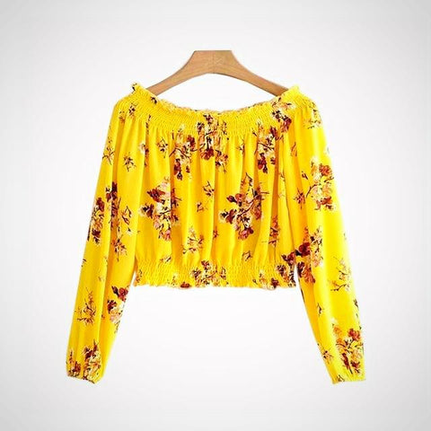 Yellow Floral Off-Shoulder Crop Blouse