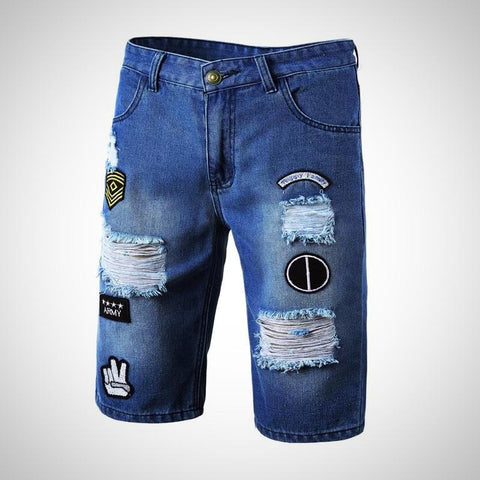 Embroidered Straight Denim Jean Shorts - -ENC FASHION-