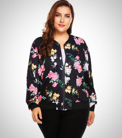 Slim Print Bomber Jacket - -ENC FASHION-