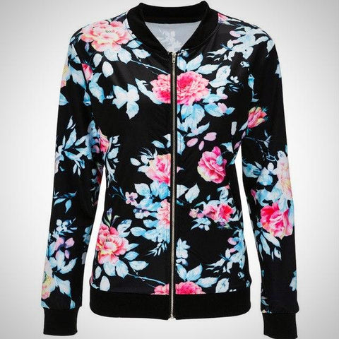 Long Sleeve Floral Printed Jacket - -ENC FASHION-