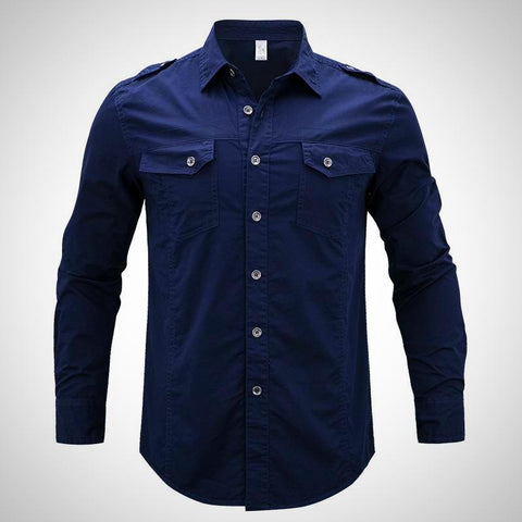 Long Sleeve Denim Cargo Shirts - -ENC FASHION-