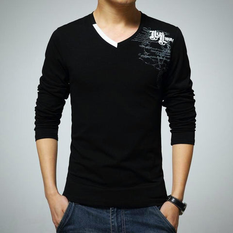 Casual Slim V-neck Cotton T-Shirt - -ENC FASHION-