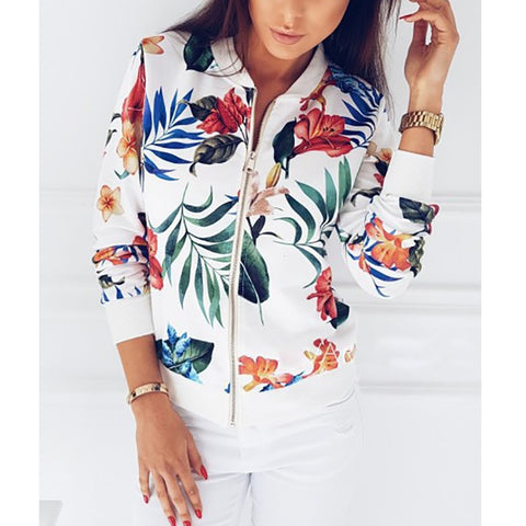 Floral Print Bomber Jacket - -ENC FASHION-