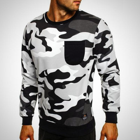 Long Sleeve Pullover Military Sweatshirt - -ENC FASHION-