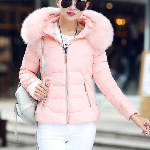 Fur Hooded Quilted Jacket - -ENC FASHION-