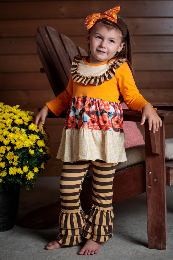 Orange floral top and brown striped leggings. sizes 2T-7T. Ruffles and bold colors make this outfit so beautifully unique.
