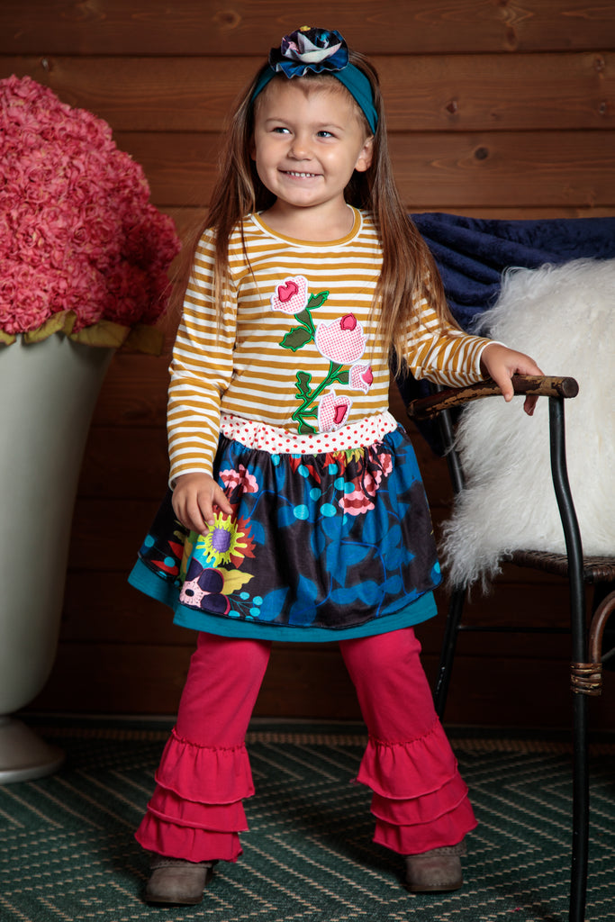 magenta leggins, blue flower skirt and tan striped flower shirt. Sizes 2T-7T. Wear separatley or together.