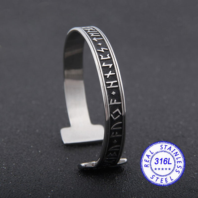 stainless steel 1pc Men's Handmade Nordic Rune Bangle - All the best