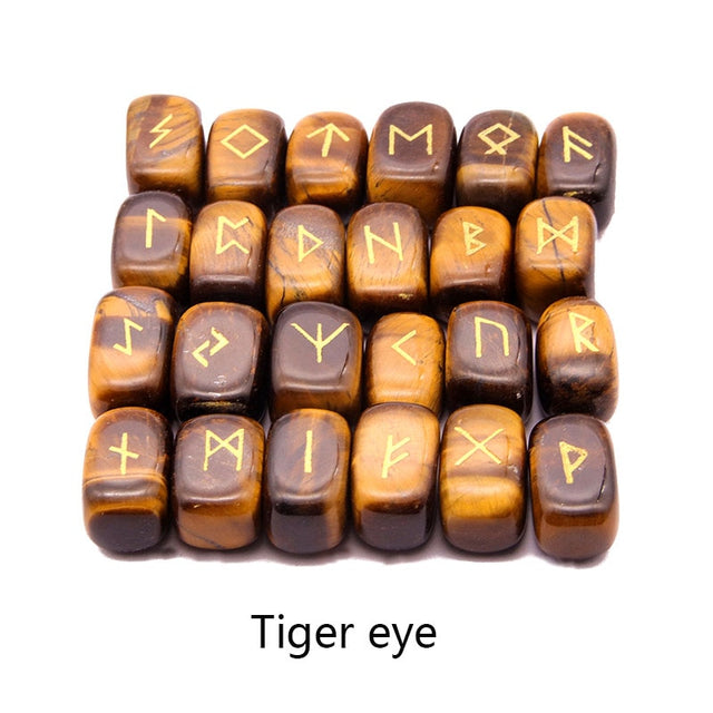 25pcs Natural stone carving Viking Runes (Tiger eye) - All the best