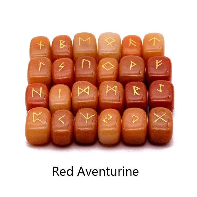 25pcs Natural stone carving Viking Runes  (red Aventurine) - All the best