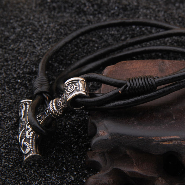 Stainless steel Viking Thor hammer pendant hand made really leather Bracelet - All the best
