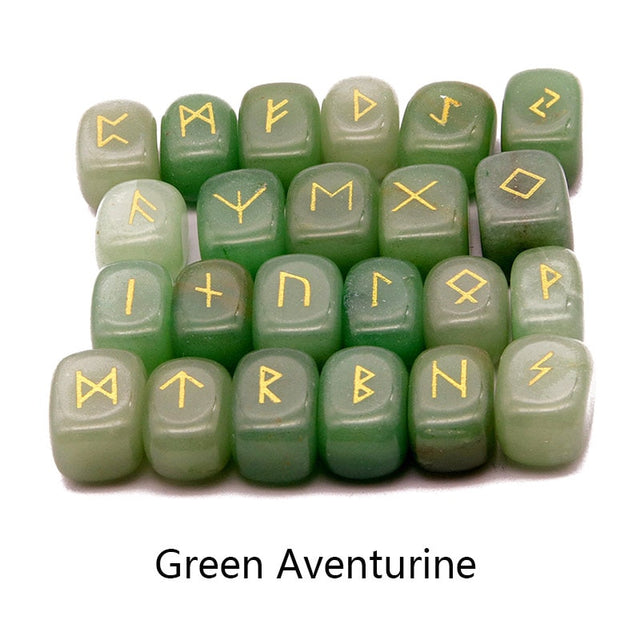 25pcs Natural stone carving Viking Runes  (Green Aventurine) - All the best