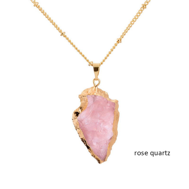 Crystal Natural Stone Pendant Necklace (Rose quartz) - All the best