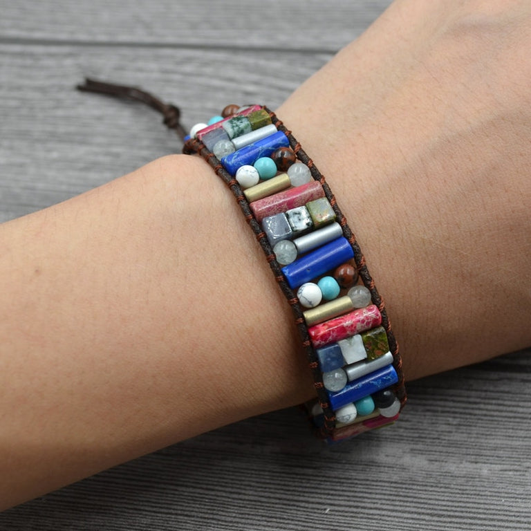 Handmade Boho Tube Shape Natural stone bracelet (25cm) - All the best