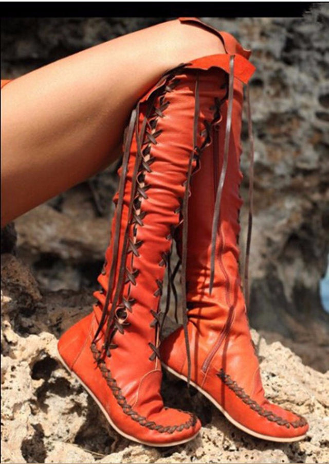 long boots lace up punk orange - All the best