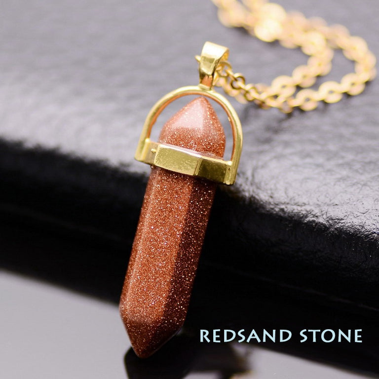 Natural Stone Healing Point Pendant Necklaces (Gold Redsand) - All the best