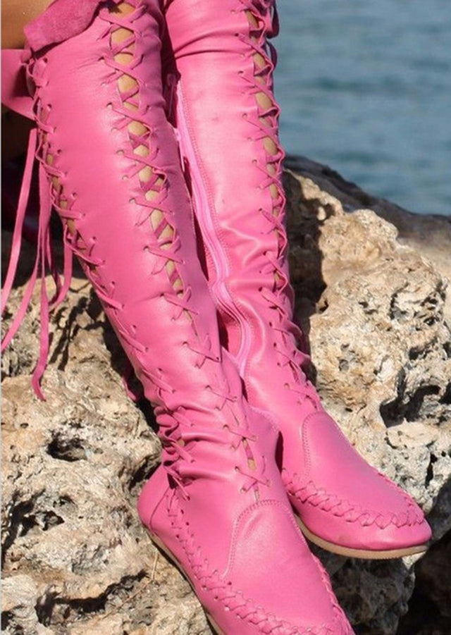 long boots lace up punk pink - All the best