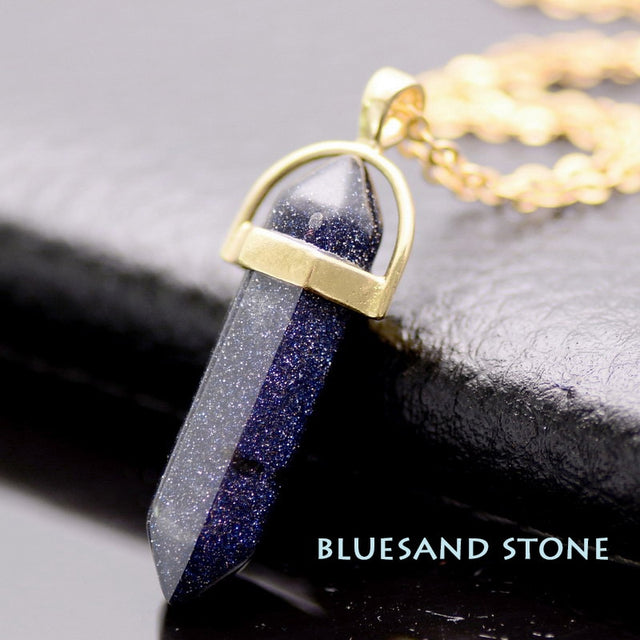 Natural Stone Healing Point Pendant Necklaces (Gold Bluesand) - All the best