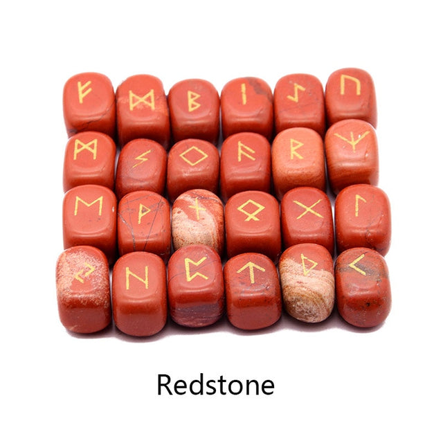 25pcs Natural stone carving Viking Runes (Redstone) - All the best