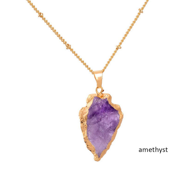 Crystal Natural Stone Pendant Necklace (Amethyst) - All the best