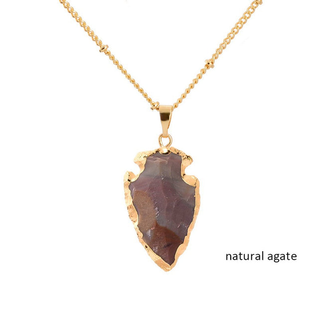 Crystal Natural Stone Pendant Necklace (Agate) - All the best