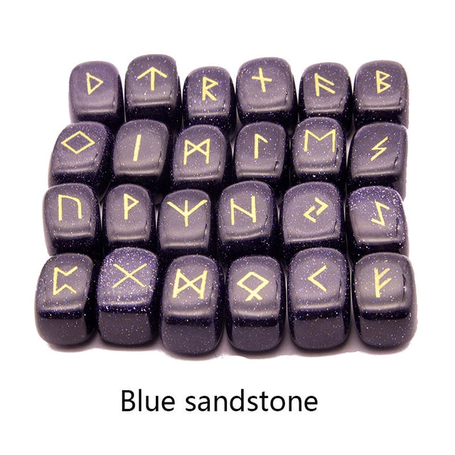 25pcs Natural stone carving Viking Runes  (Blue sandstone) - All the best