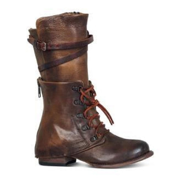 shoes autumn winter lace up boots mid calf - All the best