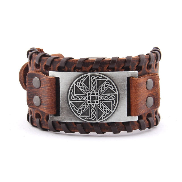 Amulet Sun Wheel Weave Genuine Leather Bangle - All the best
