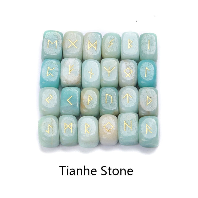 25pcs Natural stone carving Viking Runes (Tianhe stone) - All the best