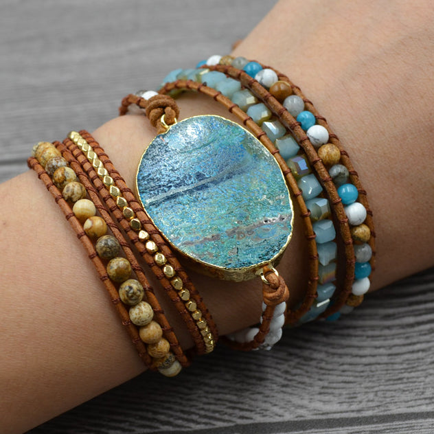 Natural Stones beads 5 Strands Wrap Cuff Bracelets - All the best