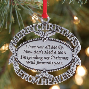 Christmas In Heaven.Merry Christmas From Heaven Ornament Pewter