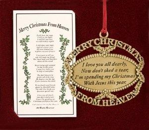 Merry Christmas From Heaven Ornament Gold