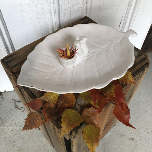 Leaf Dish with Squirrel Toothpick Cup