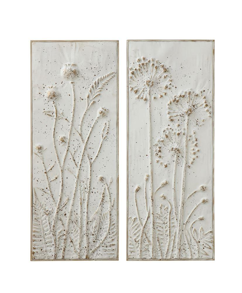 Embossed Flowers Wall Decor Set of 2