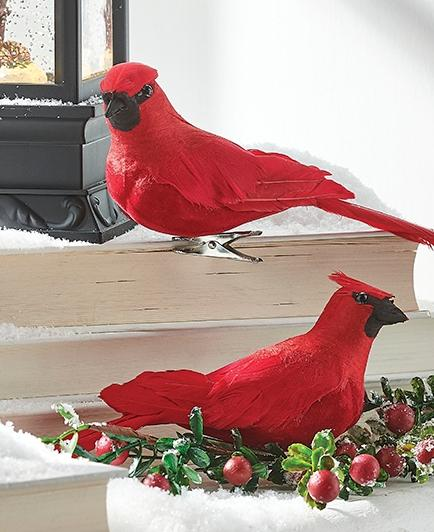 Cardinal Clip On Ornaments