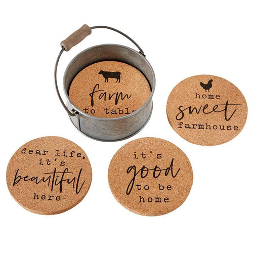 Cork Coaster and Tin Bucket Set