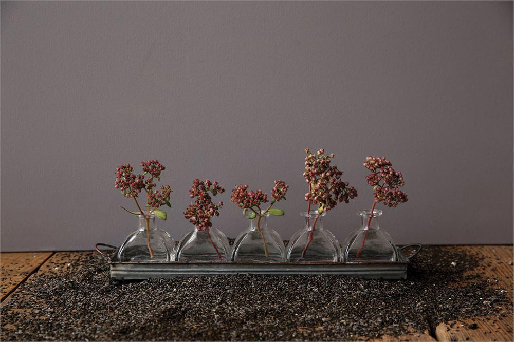 Decorative Iron Tray & Set of Five Glass Vases