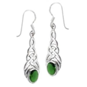 Emerald Sterling Silver Knot Earrings