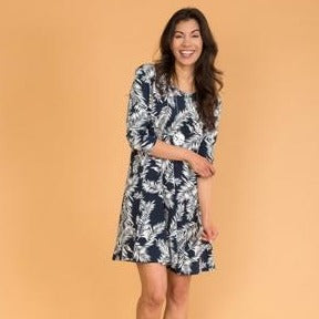 3/4 Sleeve Dress Navy
