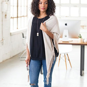 Knit Triangle Scarf with Fringe