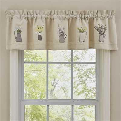 Pitcher and Flower Lined Valance